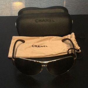 Authentic Chanel Gold Aviator sunglasses. Near New